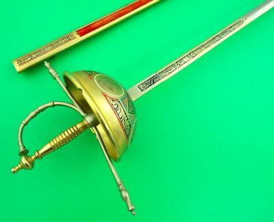Beautiful Spanish Toledo Cup Hilt Rapier With Gold And Enamel Decorations
