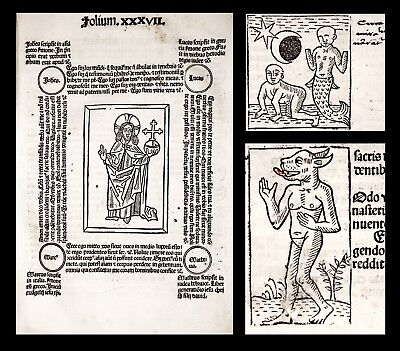 1487 FASCICULUS TEMPORUM Incunable CHRONICLE Medieval History BIBLE * WOODCUTS