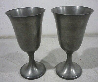 Pair of antique pewter goblets. Colonial Pewter Boardman