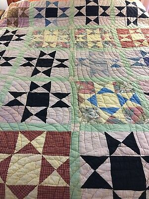 """Vintage Handmade Feed Sack Ohio Star Quilt All Hand Stitched 62"""" X 78"""""""