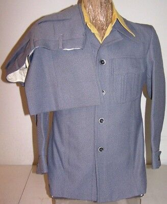 38R VTG 70s LEISURE SUIT Gray-Poly Big-Collar 4-Pockets Flared-Pants Made in USA