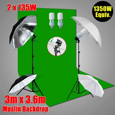 "Chroma Key Green Screen Photo Backdrop Studio 33"" Umbrella Lighting Stand Kit AU"