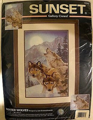 """NIP SUNSET Gallery Crewel Embroidery Kit WINTER WOLVES 11122, Picture, 11"""" x 17"""""""