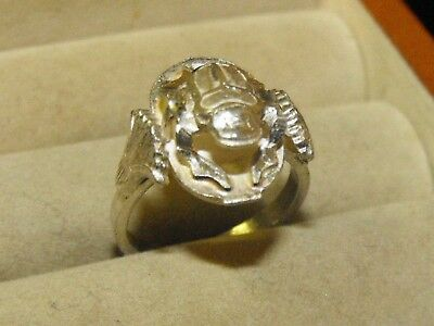 Vintage Deco Sterling Silver Egyptian Revival 3-D Scarab Beetle Ring Signed Sz 6