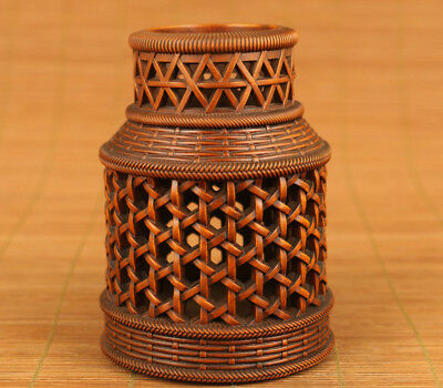 Antique chinese Boxwood hollow out hand carving cricket cage pot