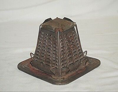 Old Vintage Antique Primitive 4 Slice Bread Toaster Tin Open Flame Camping Stove
