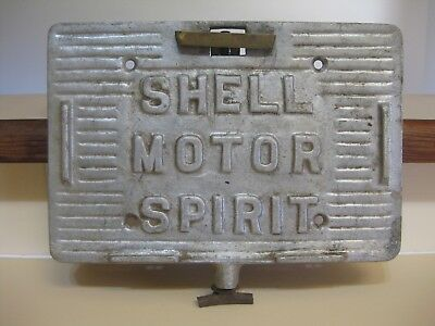 Rare Shell Motor Spirit running board tin holder. antique vintage car.