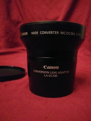 Canon WC-DC58A 0.75x Wide Converter and Convertion Lens Adapter LA-DC58E