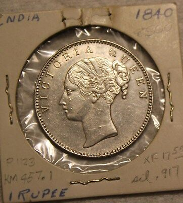 1840 EAST INDIA COMPANY SILVER ONE 1 RUPEE QUEEN VICTORIA COIN (Lot 1)