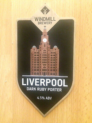 Liverpool Dark Ruby Porter Beer Pump Clip: Windmill Brewery Liver Building