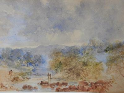 really old PAINTING water colour antique landscape signed