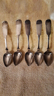 Antique early 1800's Fiddleback Coin Silver Spoons