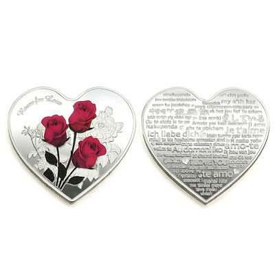 100 Languages I Love You Commemorative Coin Heart Shape Valentine's Day Gifts