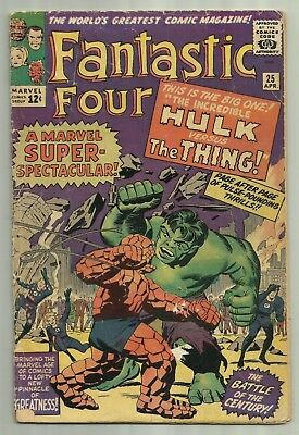 Fantastic Four #25 1964 2nd App of Silver Age Cap America Avengers Key Book!!