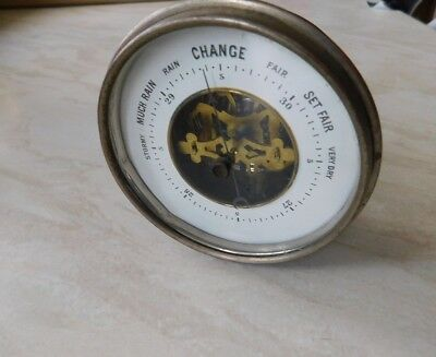 Vintage Clock Style Barometer (Adapted For A Desk) Very Clean Example