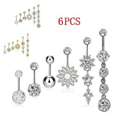 6pcs Set Stainless Steel Crystal Dangle Belly Button Rings Navel Body Jewelry
