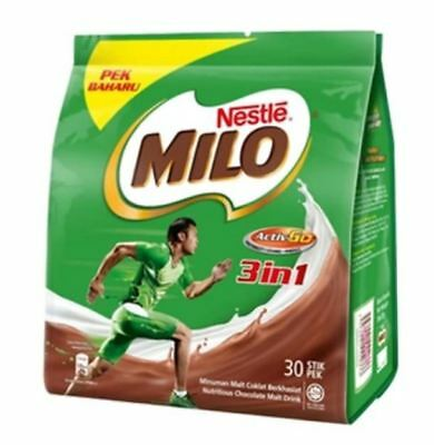 30x Milo Chocolate Malt Drink 3-in-1 Premix Single-serve Sticks
