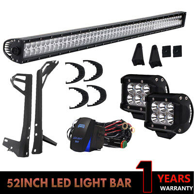 """52Inch LED Light Bar Combo 300W+4"""" CREE PODS OFFROAD FIT 4WD ATV FORD JEEP SUV"""