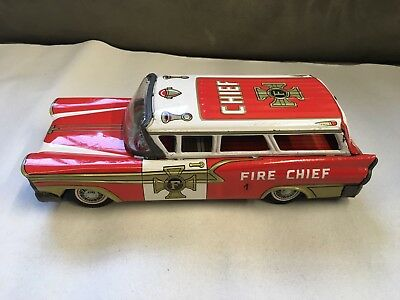 Alter Yonezawa Fire Chief  Auto @1897@ Made In Japan Sammlung Blechspielzeug