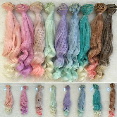 12# 25cm Long DIY Colorful Ombre Curly Wave Doll Wigs Synthetic Hair DECO