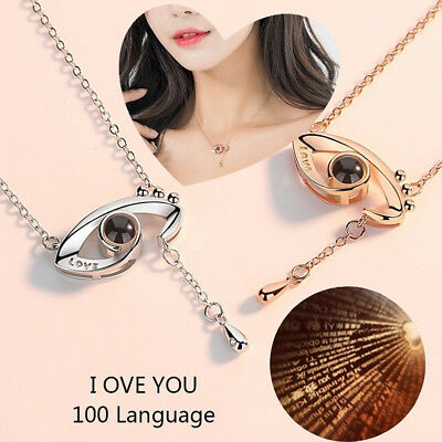 Silver Gold 100 Languages Light I Love You Projection Eye Shape Pendant Necklace