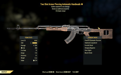 PC Fallout 76 Two-shot + Explosive Handmade or Lever rifle (4 total variants)!