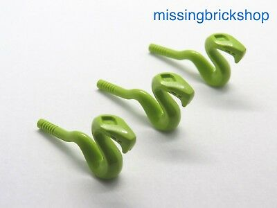 3 x Lego Mini Figure Lime Snake Standing Jumping Animal Part Number  98136