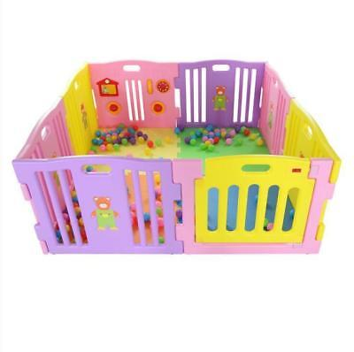 8 Panel Playpen XL Large Play Pen Plastic Foldable Baby Kids Children's Ball Pit