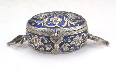 Antique Islamic Persian Middle Eastern White Metal & Enamel Lidded Box - Nice!