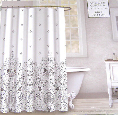 Envogue Floral Baroque Medallion Shower Curtain 100 Cotton Gray Silver Beige
