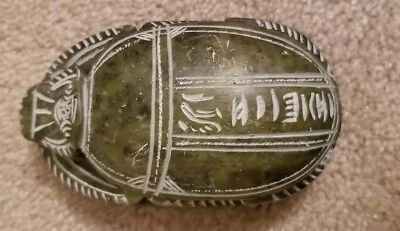 Vintage Dark Green Carved Stone Scarab Ancient Egyptian Beetle Hieroglyphics