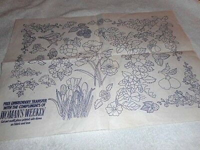 Vintage Embroidery Iron on Transfer - Woman's Weekly -  Flowers  /  Fruit