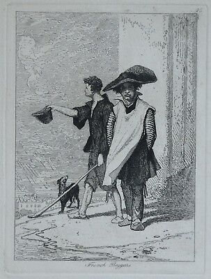John Sell Cotman (1782-1842) Fine Etching French Beggars - Rare Work By Cotman