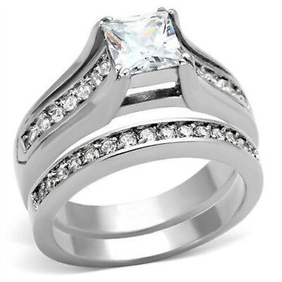 6mm Princess Engagement Ring Set 2.10 ctw CZ  Stainless Steel Womens Size 5-10