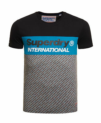 New Mens Superdry Trophy Micro T-Shirt Black