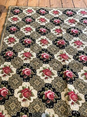 Antique Vintage Tapestry Rug/ Throw Roses