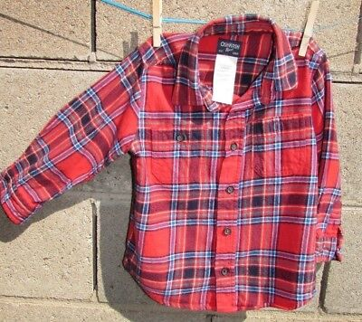 Oshkosh Shirt flannel top boys size 2t 3t red Blue green Toddler Cowboy Fun NeW