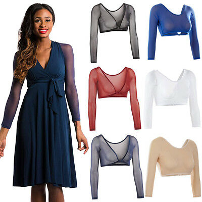 Women Both Side Wear Sheer Seamless Arm Shaper Pure Tops Mesh Dress Shirt Blouse