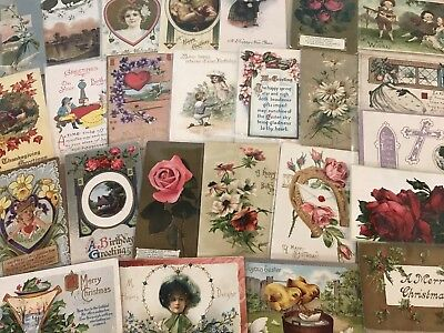 Nice Lot of 25 Vintage Mixed Holiday & Greetings Postcards-in Sleeves-a584