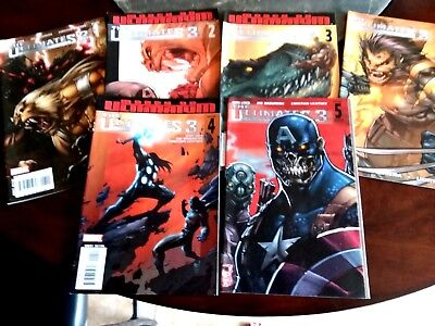 Complete Set Of The Ultimates 3 Comic Books (2 #3's with different covers) 2008