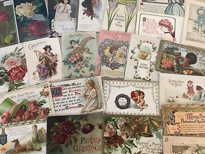 Nice Lot of 25 Vintage Mixed Holiday & Greetings Postcards-in Sleeves-a586