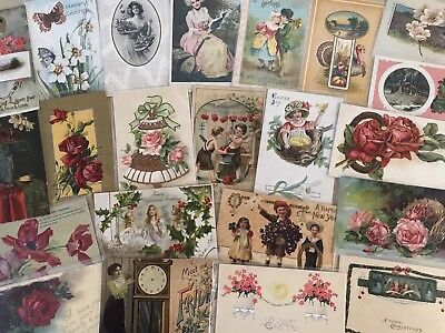 Nice Lot of 25 Vintage Mixed Holiday & Greetings Postcards-in Sleeves-a587