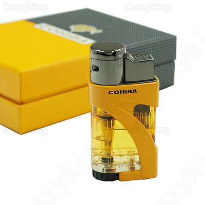 New Arrival COHIBA Yellow 2 TORCH JET FLAME CIGAR CIGARETTE LIGHTER Gift Box
