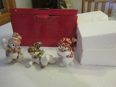 Fitz and Floyd Snowman The Flurries Tumblers 3 Snowmen  Playing In Snow ~