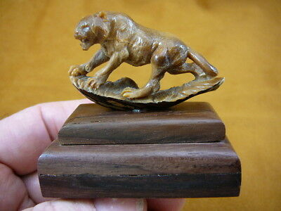 (TB-PANTH-3) Panther Mountain Lion shed ANTLER figurine Bali detailed carving