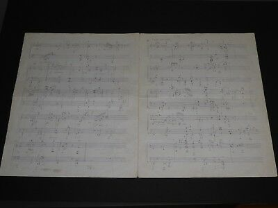 Jean Yves Bosseur Superbe Partition Musicale Manuscrite Pour Piano 4 Pages Folio