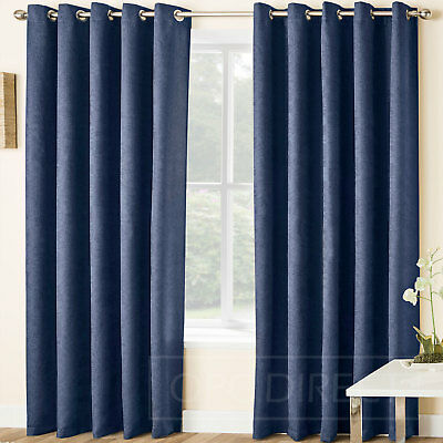Pair of Plain Embossed Blockout Thermal Eyelet Ring Top Curtains, Navy Blue