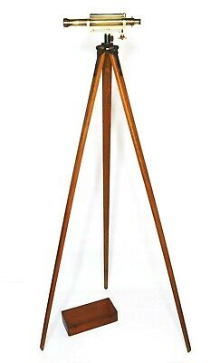 Cased antique surveyors level on period oak tripod stand, W F Stanley, 1920s