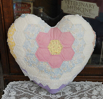 Antique Quilt & Vintage Chenille Heart Pillow Valentine Grandmothers flower