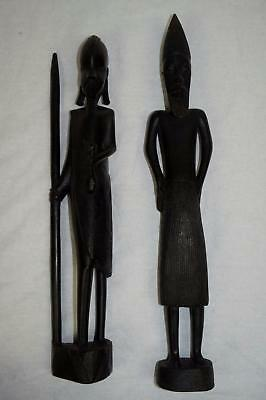 Set Of 2 African Ebony Wood Carved Statues Tanzania